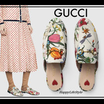 GUCCI Princetown Flower Patterns Leather Elegant Style Sandals