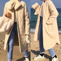 Casual Style Street Style Plain Long Fur Leather Jackets