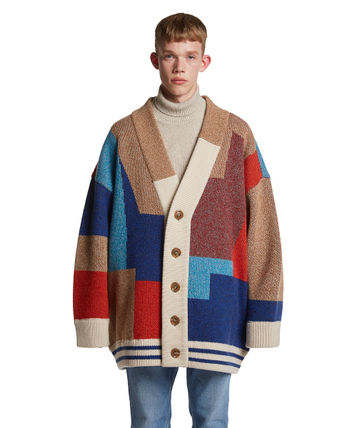 TRUNK PROJECT Cardigans BTS TEAHYUNG's TRUNKPROJECT Color Mixed Wool Cardigan Jacket