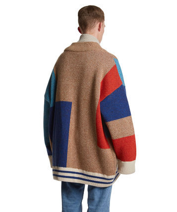 TRUNK PROJECT Cardigans BTS TEAHYUNG's TRUNKPROJECT Color Mixed Wool Cardigan Jacket 5