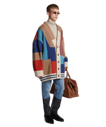 TRUNK PROJECT Cardigans BTS TEAHYUNG's TRUNKPROJECT Color Mixed Wool Cardigan Jacket 3