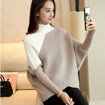 Peplum Dolman Sleeves Bi-color Plain Cotton Medium