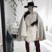Wool Blended Fabrics Plain Long Oversized Ponchos & Capes