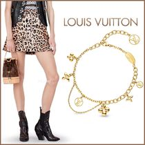 Louis Vuitton Flower Chain Brass Elegant Style Bracelets