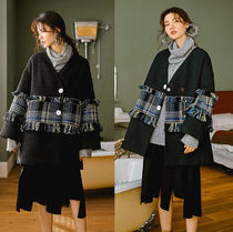 Gingham Casual Style Tweed Blended Fabrics Street Style
