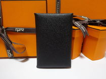 HERMES Calvi Unisex Plain Leather Card Holders