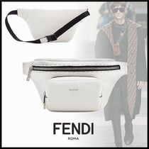 FENDI Unisex Street Style Plain Leather Hip Packs