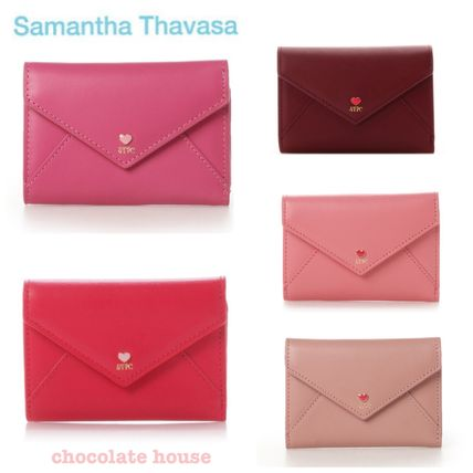 Heart Plain Leather With Jewels Folding Wallets