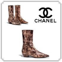 CHANEL Other Animal Patterns Leather Block Heels Elegant Style