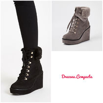 River Island Round Toe Lace-up Casual Style Plain Lace-up Boots