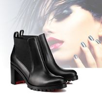 Christian Louboutin Plain Toe Plain Leather Block Heels Chelsea Boots