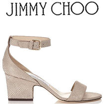 Jimmy Choo Other Check Patterns Open Toe Leather Block Heels