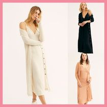 Free People Casual Style Tight V-Neck Long Sleeves Plain Long Dresses