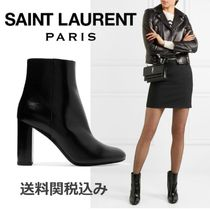 Saint Laurent LOU Round Toe Plain Leather Elegant Style Chunky Heels