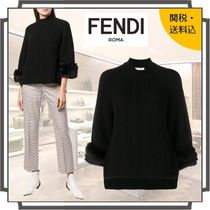 FENDI Crew Neck Cashmere Rib Blended Fabrics Cropped Plain Medium