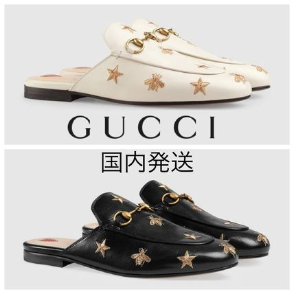 GUCCI Princetown Princetown Embroidered Leather Slipper