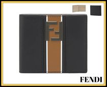 FENDI FOREVER Stripes Unisex Street Style Leather Folding Wallets
