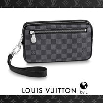 Louis Vuitton DAMIER GRAPHITE Other Check Patterns Canvas Bag in Bag 2WAY Clutches