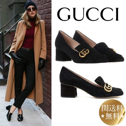 9bbe29f5f14 GUCCI GG Marmont Square Toe Plain Leather Block Heels Fringes by ...