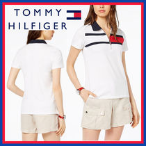 Tommy Hilfiger V-Neck Plain Cotton Medium Short Sleeves Office Style Logo