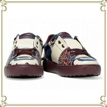 VALENTINO Round Toe Casual Style Leather Chunky Heels Low-Top Sneakers