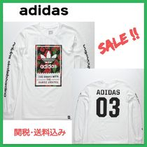 adidas Crew Neck Flower Patterns Street Style Long Sleeves Cotton