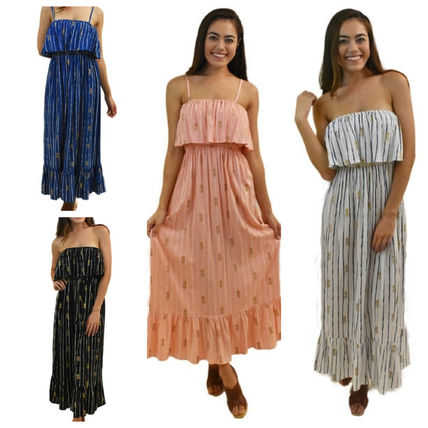 Stripes Tropical Patterns Maxi Sleeveless Long Dresses