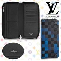 Louis Vuitton DAMIER GRAPHITE Other Check Patterns Blended Fabrics Leather Long Wallets