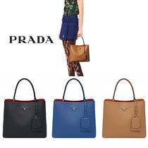 PRADA DOUBLE 2WAY Plain Leather Handbags