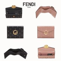 FENDI Studded Leather Folding Wallets