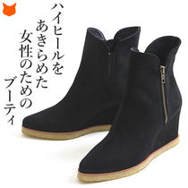Casual Style Suede Plain Wedge Boots