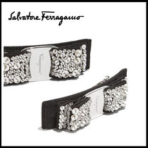Salvatore Ferragamo Barettes Brass With Jewels Elegant Style Clips
