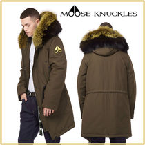 MOOSE KNUCKLES Fur Plain Long Khaki Parkas