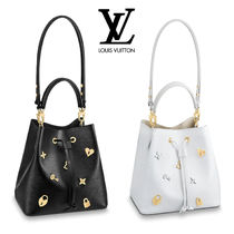 Louis Vuitton EPI Studded 2WAY Plain Leather Elegant Style Shoulder Bags