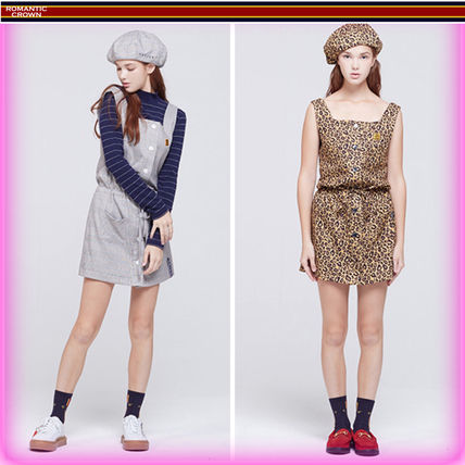 Dungarees Stripes Leopard Patterns Casual Style Sleeveless
