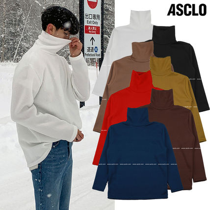 ASCLO Sweaters Pullovers Unisex Long Sleeves Plain Sweaters