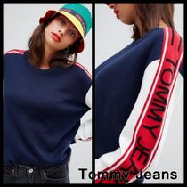 Tommy Hilfiger Crew Neck Cable Knit Stripes Casual Style Wool Street Style