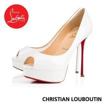 Christian Louboutin Open Toe Platform Plain Leather Elegant Style