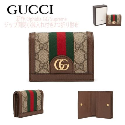 newest e4e48 b14b2 GUCCI GG Supreme 2019 SS Monogram Blended Fabrics Leather Folding Wallets