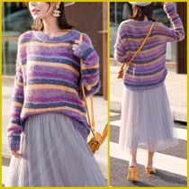 Cable Knit Stripes Casual Style U-Neck Medium Knitwear