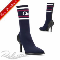 Chloe Stripes Pin Heels Elegant Style Ankle & Booties Boots