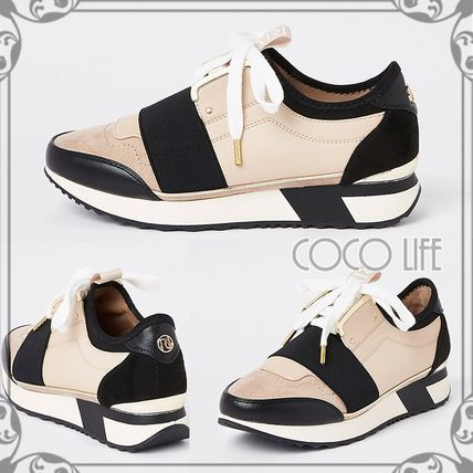 Rubber Sole Lace-up Casual Style Faux Fur Low-Top Sneakers