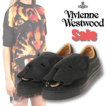 Vivienne Westwood Round Toe Rubber Sole Casual Style Suede Plain Slip-On Shoes