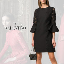 VALENTINO Short A-line Silk Blended Fabrics U-Neck Cropped Plain