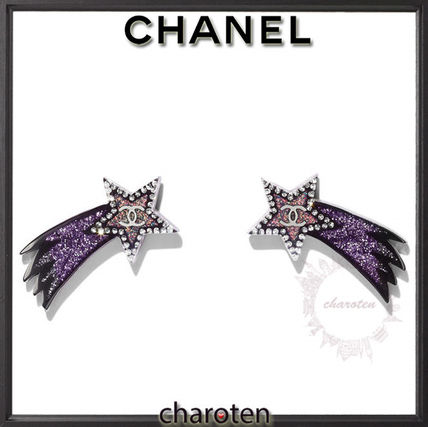 CHANEL Earrings Star Casual Style Glitter Earrings
