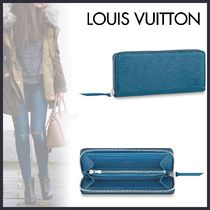 Louis Vuitton CLEMENCE Blended Fabrics Studded Plain Leather Long Wallets