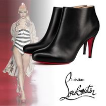 Christian Louboutin Plain Toe Plain Leather Elegant Style Ankle & Booties Boots
