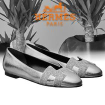 HERMES Blended Fabrics Plain Leather With Jewels Ballet Shoes