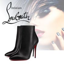 Christian Louboutin Eloise Plain Leather Pin Heels Elegant Style Ankle & Booties Boots