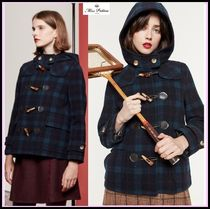 Miss Patina Short Tartan Wool Duffle Coats
